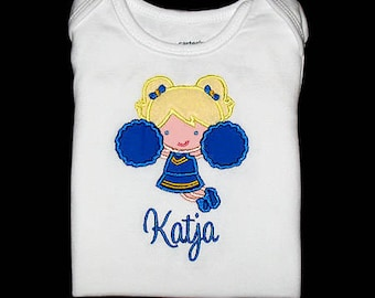 Custom Personalized Applique CHEERLEADER and NAME Bodysuit or Shirt - Royal Blue and Yellow Gold - Or Choose Your Team Colors