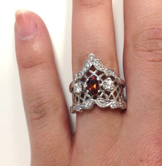 Vintage Gothic Victorian Wedding Ring Garnet and Diamond 14k