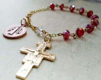Red Rosary Bracelet, Rosaries, Handmade Catholic Rosary, Confirmation Gift, Catholic, Prayer Beads, St Benedict Medal, San Damiano Crucifix