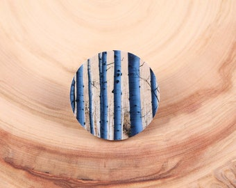 Aspen Trees in the Shadows Photo Magnet Pin - Brooch