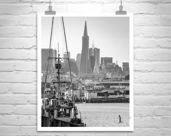Fishermans Wharf Picture, Black and White San Francisco Art, San Francisco Skyline, Fishermans Wharf Photograph, San Francisco Gift
