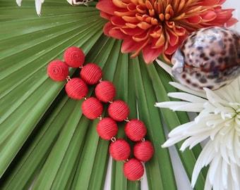 "The ""Caicos"" Bon Bon Pom Pom Earring; Red - 4 Inches"