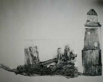 I want to marry a lighthouse keeper - Collagraph and monotype print