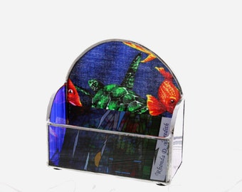 Seaworld Turtle Stained Glass Business Card Holder