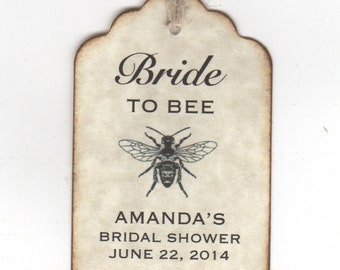 50 Wedding Bridal Shower Favor Personalized Tags, Bride To BEE Honey Favor Jar Label Tags - Vintage Style