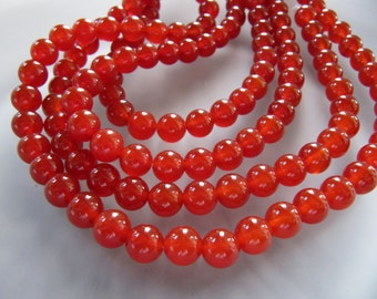 8mm Red AGATE Stone Beads in Warm Copper Red Orange Shade, 48 Pcs, Round Smooth, Slightly.   Translucent, Gemstone Beads