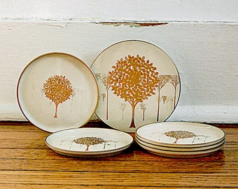 Vintage Otagiri 1970s Home Decor Coaster Set Golden Mist Gold Lacquer Trees Organic Nature 70s.