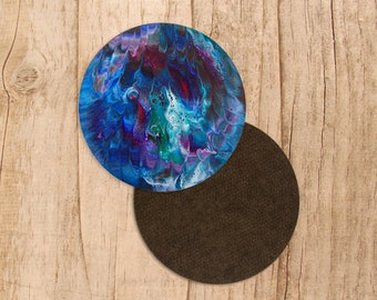 Abstract coaster, blue coasters, art print, abstract art, modern decor, housewarming, modern art, round coaster, coaster set, purple blue