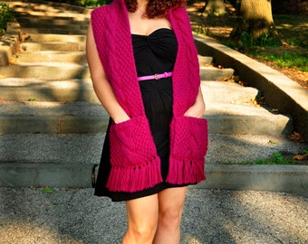 Trifecta KNITTING PATTERN INSTRUCTIONS Pink Cable Knit Hooded Scarf with Pockets