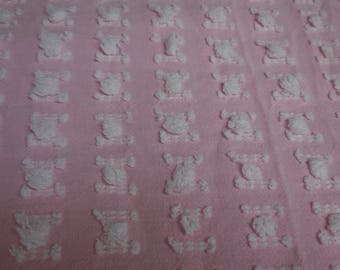 """Rare and So Sweet Vantona PINK with WHITE  ROSEBUDS Vintage Chenille Bedspread Fabric - Made in Great Britain - 19"""" X 24"""""""