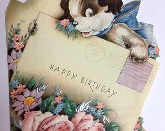 Vintage 1930s Birthday Card Cute Puppy Birthday Card Vintage Ephemera