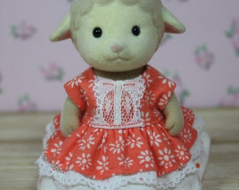 Calico Critters Dress, Coral Floral Print Double Tiered Dress, Calico Critter Clothing, Calico Critter Clothes, Critter Accessories