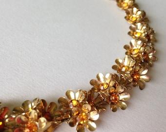 Vintage Flower Amber Rhinestone Necklace