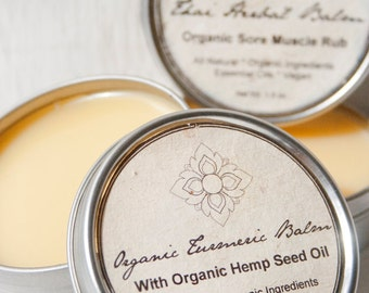 Organic Turmeric Balm, Healing Salve with Organic Hemp Seed Oil, Turmeric Essential Oil
