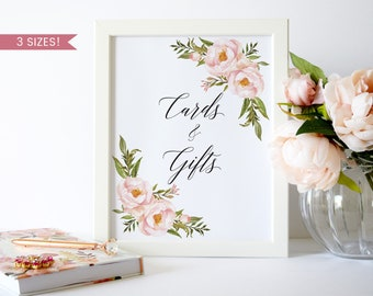 Cards and Gifts Sign Template,Cards and Gifts Sign Printable,Peony Cards and Gifts Sign,Floral Cards and Gifts Sign Pink,Reception Signs,PDF