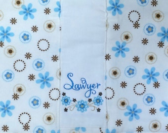 Flower Baby Burp Cloth with Name-Personalized