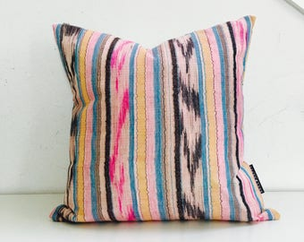 "Boho Pink Black Ikat Pillow Cover 18""x18"" Square Cushion Pillow Ethnic Bohemian Turquoise Striped Motif Boho Pillow"
