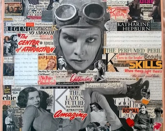 Katharine Hepburn - Legends Series Vintage Collage Art