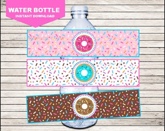Donut Water Bottle Label instant download, Donut Bottle labels, Donut Party water Labels