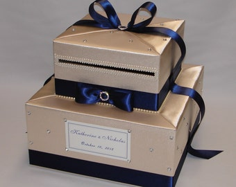 Champagne/Navy Blue Wedding Card Box-any color can be made