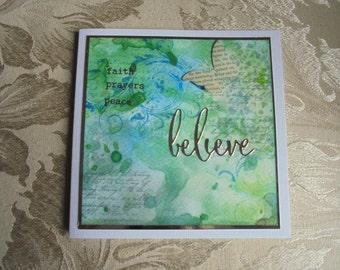 Faith, prayers, peace, believe. Faith card. Religious card. Shabby chic card.