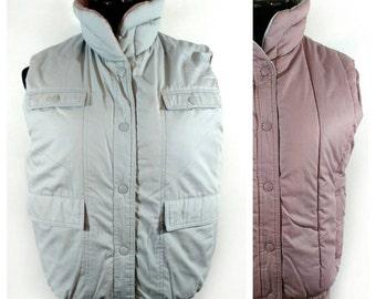 80s Puffy Vest, Vintage Reversible Gray Mauve Sleeveless Coat Size S Small to M Medium