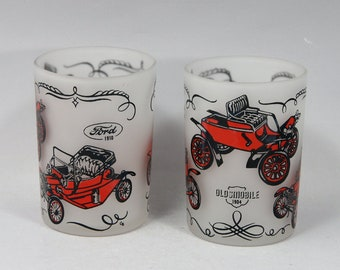 Hazel Atlas, Vintage, Juice, Shot, Cars, Ford, Packard, Oldsmobile, Home Decor, Gift for Him, Birthday Gift, Mancave, Rustic, Frosted Glass