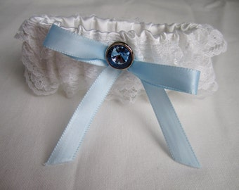 Something Blue Garter Set, white wedding garter, white lace bridal garter, blue button & ribbon, includes keepsake and toss garters