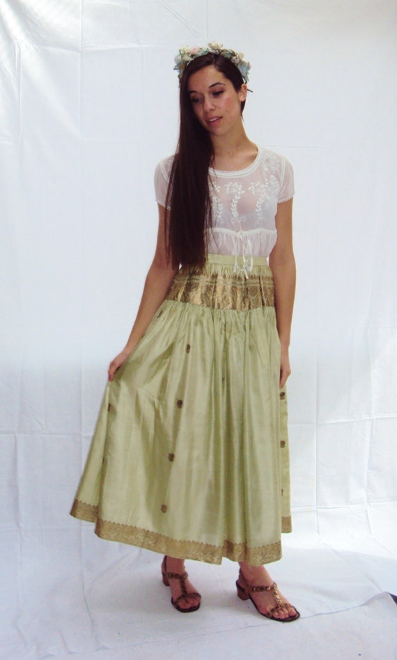 Indian silk maxi skirt / metallic Silk Maxi Skirt / Celadon Green / small / medium