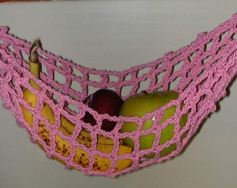 Banana Hammock, Fruit Hanger, Holder, Net, Rosy Pink