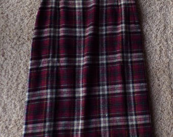 TARTAN PLAID pencil SKIRT high waisted vintage wool 25 waist xs (D7)