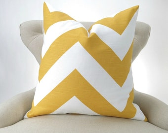 YELLOW Zigzag Pillow Cover up to 28x28 inch large chevron zippy geometric white decorative throw sham cushion