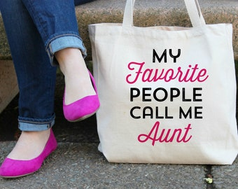 My Favorite People call me Aunt XL Canvas Tote Bag