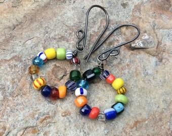 RAINBOW glass bead hoops, sterling silver hoop earrings, rainbow earrings, handmade earrings