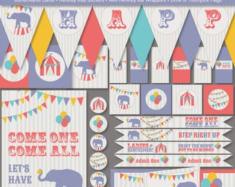 Carnival Circus Elephant Printable Party Kit, Instant Download - Birthday Party - Digital File, PRINTABLE, D.I.Y.