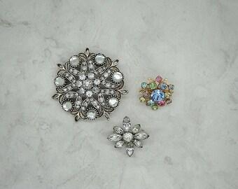 Vintage Three Brooch Lot, Vintage Repair Lot, Vintage Rhinestone Brooch Lot, Vintage Jewelry Lot, Vintage Rhinestone Craft Lot,