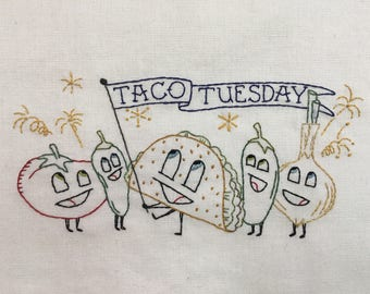 Taco Tuesday embroidery pattern
