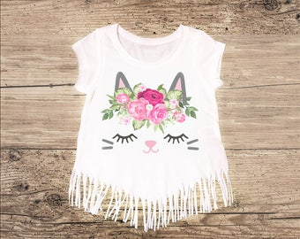 Kitty Cat Shirt with Fringe