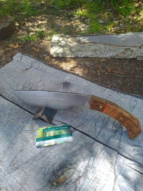 Hand forged Kukri, hand forged knife, camp knife, hunting knife, hiking knife, 5160 steel, curly maple handle