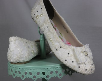 Wedding Ballet Flats . Lace Ballet Flats . Bridal Shoes . Wedding Shoes . Lace Bridal Flats . Lacy Flats . WIDE Fit Available