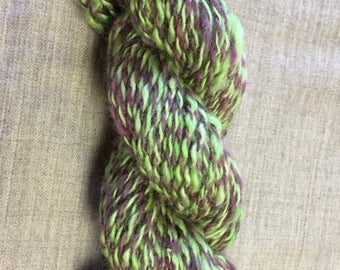 """Hand-Spun 100% Wool Yarn """"Wicked Witch of the West"""" Hand-Washed, Carded, Spun and Painted, 2 ply, Knit, Crochet, Weave, 106 yds, Wound FREE!"""