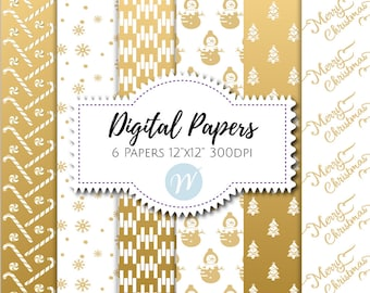 Christmas Digital Paper, Christmas Scrapbooking Paper, Gold Digital Paper, Christmas Backgrounds, Invitation Backgrounds