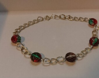 Rainbow bead chain choker