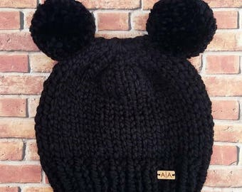 Ready to ship toddler double pompom beanie.