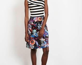 Elodie dress - sleeveless dress with striped top and floral skirt