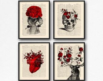 Rose Deer Flowers, Floral Skull Art, Cool Girlfriend Art, Mystery Print Set, Rose Deer Gift, Cool Girl Gift, Mystery Poster Pack Geeky  S15