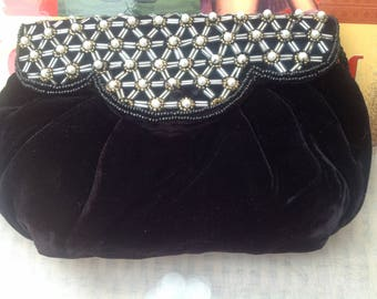 Original Vintage 1970's Black Velour Handbag With Pearl Detail
