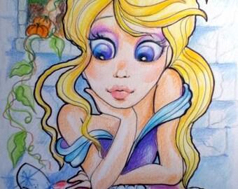 Cinderella The Morning After Big Eye Fantasy Fairytale Art Print 8.5 x 11