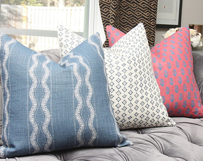 Peter Dunham Zanzibar in Indigo - Blue Geometric Stripe Linen - Designer Blue Pillow Cover - Motif Pillows - Global home decor