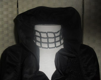 Ireland Vintage Black RUFFLED cropped JACKET Face framing wire edged collar.Cotton and Polyester